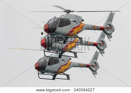 Torre Del Mar, Malaga, Spain-jul 12: Patrulla Aspa, Helicopter Eurocopter Ec-120 Colibri Taking Part