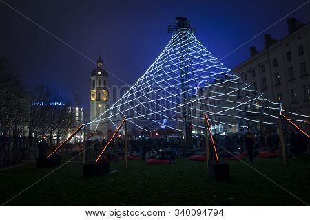 Lyon, France, Europe, 6th December 2019, View Of The Fetes Des Lumieres Aka Festival Of Light  And T