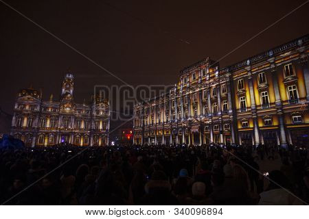 Lyon, France, Europe, 6th December 2019, View Of The Fetes Des Lumieres Aka Festival Of Light And Th