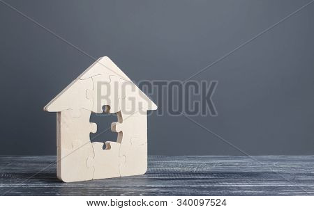 Puzzle House With A Missing Piece. Purchase Or Construction Comfortable Dream Home. Mortgage Loan Pu