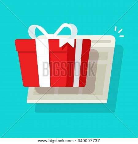 Online Or Internet Paper Gift Box Prize Win As Giveaway From Web Site Vector Illustration, Flat Cart