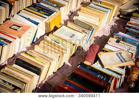 Athens, Greece, September 22 2019: Stack Collection Of Very Old Vintage Collectible Books From A Boo