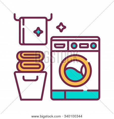 Laundry Room Color Line Icon. House Amenities Sign. Cleaning Service. Pictogram For Web Page, Mobile