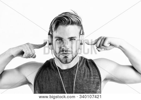 Bearded Man Wearing Adjustable Headset. Relax Playlist. Sexy Muscular Man Listen Music From Playlist