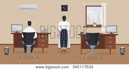 Interior Of Working Place In The Office On The Light Cream Background. Vector Illustration. Office W