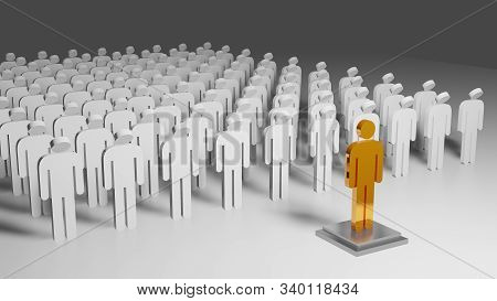 3d Rendering Cult Composition With A Group Of People Bowing Their Heads To Their Leader In Gold On A
