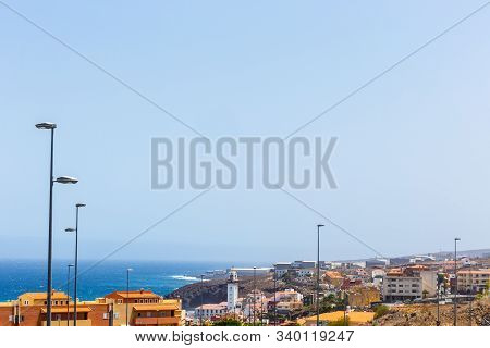 Panoramic View Of Candelaria With Clear Sky And Ocean In Background, Tenerife