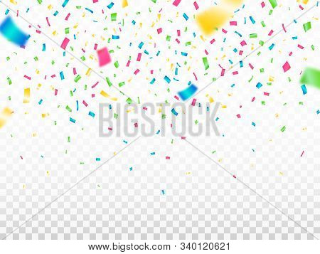 Colorful Confetti On Transparent Background. Falling Color Confetti. Festive Decoration Elements. Re
