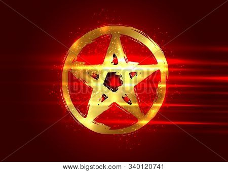 Pentagram Occult Symbol. Golden Wiccan Sigil Pentacle Esoteric Brush Grunge Style. Vector Illustrati