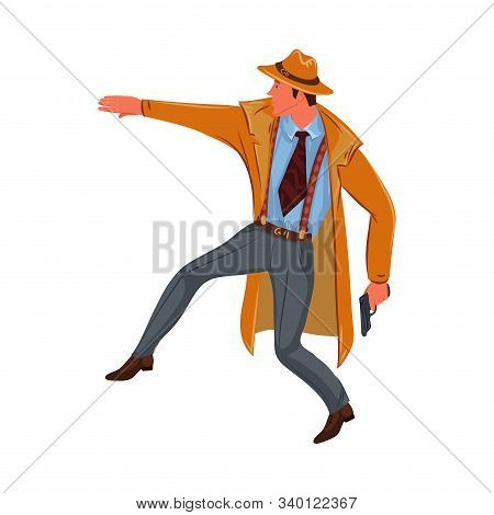 Detective Man Sneaks With A Gun In His Hand. Vector Colorful Illustration In Cartoon Style.