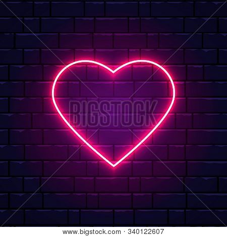 Neon Pink Heart. Night Neon Signboard On Brick Wall Background With Backlight. Retro Red Neon Heart