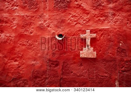 A Cross In The Red Wall In Monastery Saint Catalina, Arequipa, Peru