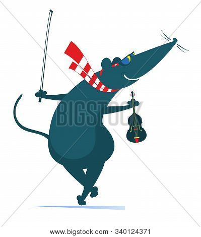 Cartoon Rat Or Mouse Plays Violin Illustration. Comic Rat Or Mouse Holds Violin And Fiddlestick Isol