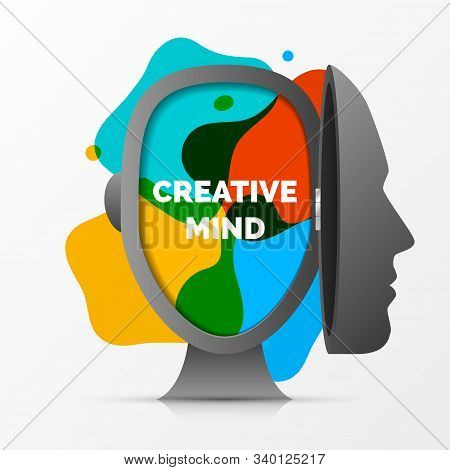 Creative Mind. Colors In Open Head. Vector Illustration