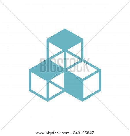 Cubes Collected Together, Cube Icon, Cooperation Concept, 3d Isometric Vector Illustration, Isolated