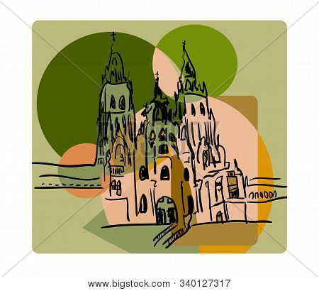 Santiago De Compostela In Cubism Style In Beige And Green Colors