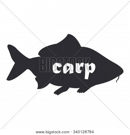 Black Silhouette Vector Fish Drawing Of Carp. Carp Isolated On White Background