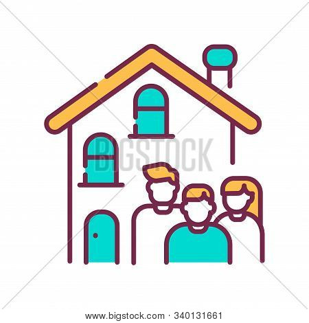 Rent A House For Family Allowed With Children Color Line Icon. Temporary Use Of Property. Pictogram
