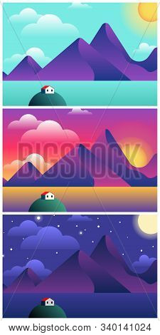 Beautiful Scandinavian Landscape Set In Minimalist Cartoon Style With Sea, Sky, Mountains And A Red