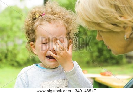 Offend The Child. Childrens Tears, Moods. Resentment. Comfort, Feel Sorry For The Baby.  Crying, Hop