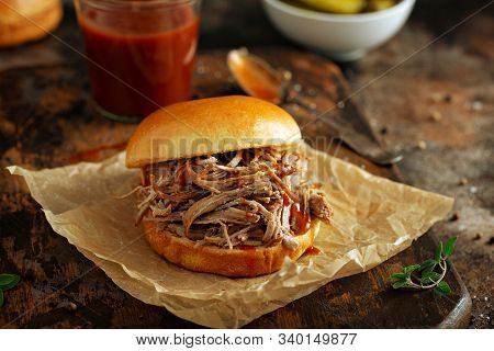 Pulled Pork Sandwich With Brioche Buns And Pickles