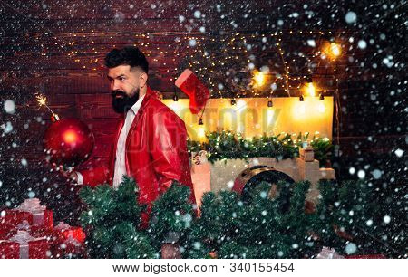 Hipster Santa Claus. Bomb Text Copy Space. Bomb Emotions. Christmas Man In Fashion Red Dress Hold Bo