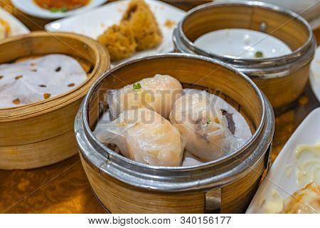 Steamed Stuffed Shrimp Dumpling In Chinese Dimsum Restaurant