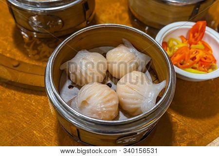 Xia Jiao- Steamed Stuffed Shrimp Dumplings In Dimsum Steamer Box