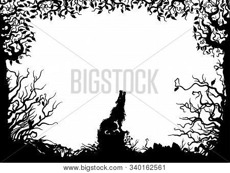 Illustration Horizontal Frame With A Wolf, Stub, Snag, Trees, Shrubs, Silhouettes