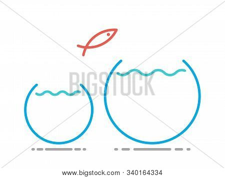 Unique Fish Jumping From Small Fishbowl In Big One. Abundance And Scarcity Mentality, Improvement, A