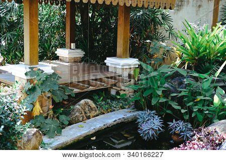 Gazebo Pavilion In Tranquil Garden Park