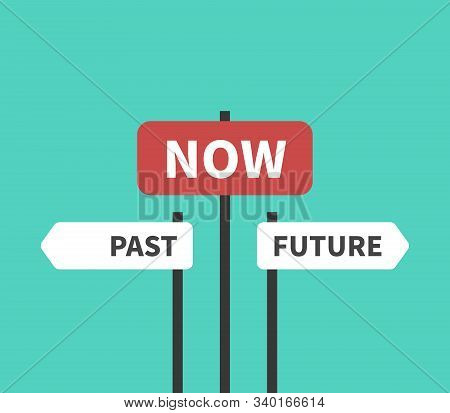 Past, Future, Now, Present Moment, Destiny, Life, Focus And Time Concept. Directions Signs And Plate