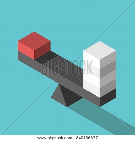 Isometric Unique Red Block And Four White Ones On Weight Scale. Pareto Rule, Balance, Comparison, Co