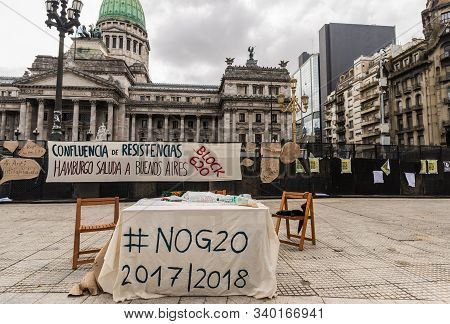 Buenos Aires, Argentina - November 29, 2018: Protests Of Left-wing Against G20