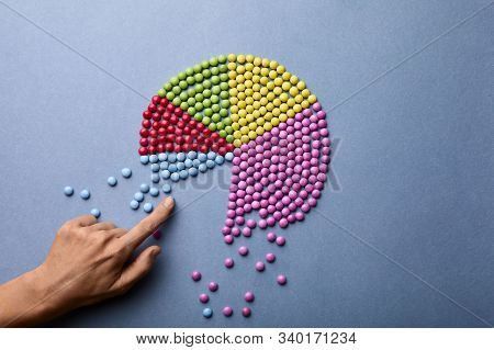 Pie Chart With Colourful Balls On White Background