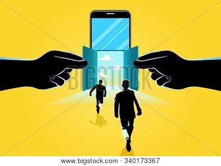 Smartphone Open Door. Businessman And Smartphone Technology. Concept Business Vector Illustration