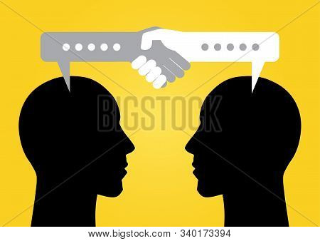Illustration Of Silhouette Of Two Persons Head Talking With Bubble Talk