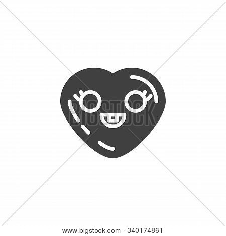 Grinning Heart With Smiling Face Emoji Vector Icon. Filled Flat Sign For Mobile Concept And Web Desi