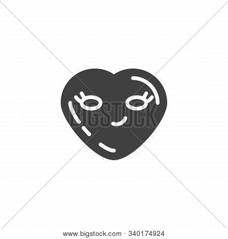 Smirking Face Emoji Vector Icon. Filled Flat Sign For Mobile Concept And Web Design. Sly Smile Heart
