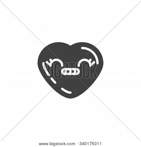 Grimacing Heart Face Emoji Vector Icon. Filled Flat Sign For Mobile Concept And Web Design. Smirking