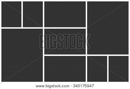 Collage Template For Photo Montage. Empty 9 Frames Layout For Insert An Images. Vector Photo Collage