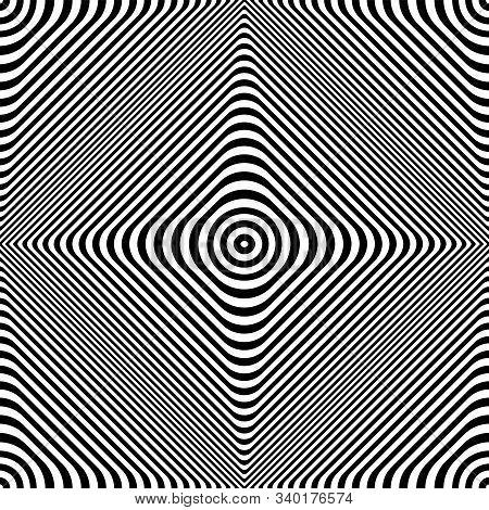 Seamless Geometric Op Art Pattern. Lines Texture. 3d Illusion. Vector Art.