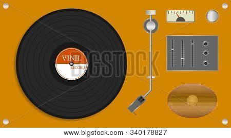 Vintage Vinyl Record Player. Realistic Yellow Record Player With Audio Speaker And Vinyl Disc. Vecto