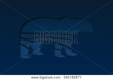 North Arctic Polar White Bear In Paper Cut Craft Style With Dusk Winter Landscape Background, Horizo