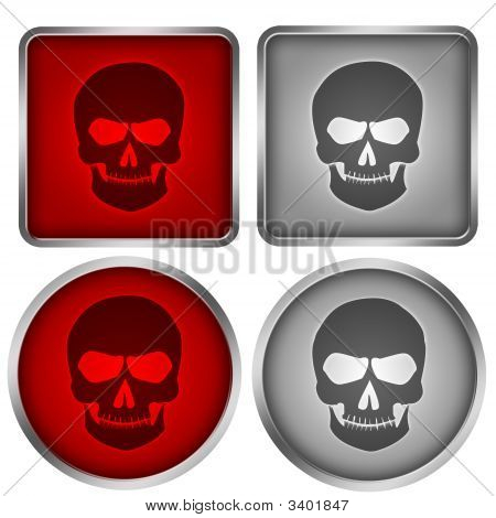 Four red and black skull button with metal frame poster