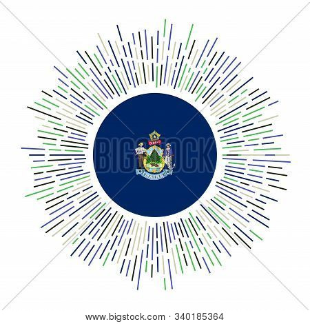 Maine Sign. Us State Flag With Colorful Rays. Radiant Sunburst With Maine Flag. Vector Illustration.