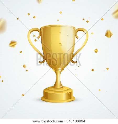 Realistic Detailed Golden Cup Winner And Falling Gilded Confetti On A Background Championship Concep