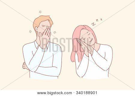 Sleepy Young People, Dozy Man And Woman Concept. Falling Asleep, Awakening, Yawn And Smile, Healthy