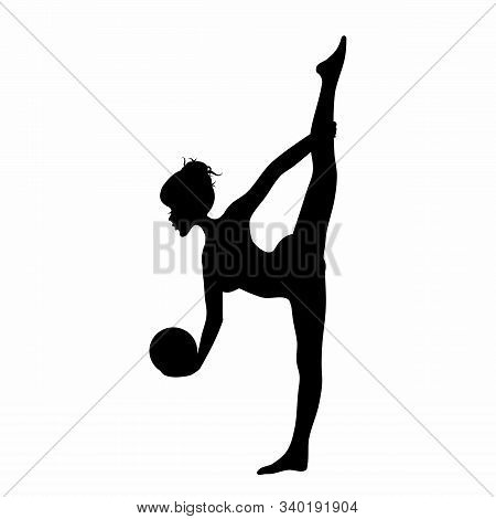 Young Woman Silhouette Doing Rhytmic Gymnastics Exercises With Ball Isolated On White Background