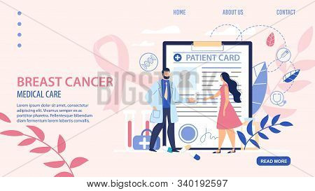 Flat Landing Page For Ontological Online Service. Breast Cancer Awareness, Early Detection And Healt
